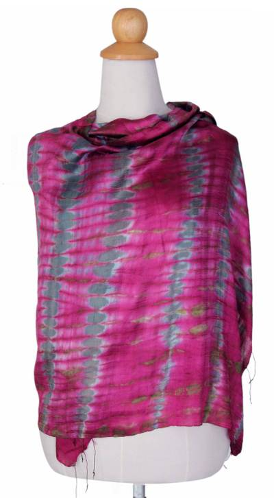 Silk shawl, 'Pink Reflecting Pools' - Tie Dye Silk Shawl