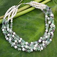 Cultured pearl and fluorite beaded necklace, 'Snow Mint' - Pearl and Fluorite Necklace Handmade in Thailand