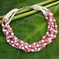 Cultured pearl beaded necklace, 'Snow Cherry' - Beaded Pearl Necklace