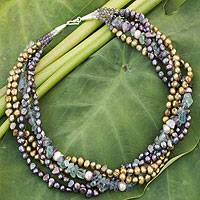 Cultured pearl and fluorite beaded necklace, 'Cool Colors' - Cultured pearl and fluorite beaded necklace