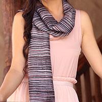 Silk batik scarf, 'Mae Nam Khong Mist'