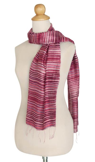 Silk batik scarf, 'Mae Nam Khong Roses' - Silk batik scarf