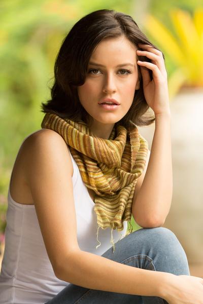 Silk batik scarf, 'Mae Nam Khong Honey' - Hand Crafted Batik Silk Scarf