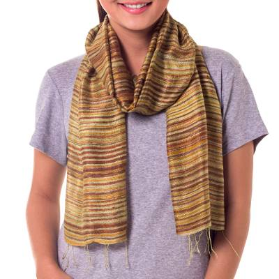 Silk batik scarf, 'Mae Nam Khong Honey' - Hand Crafted Batik Silk Scarf