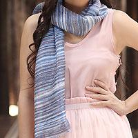 Silk batik scarf, 'Mae Nam Khong Waters'