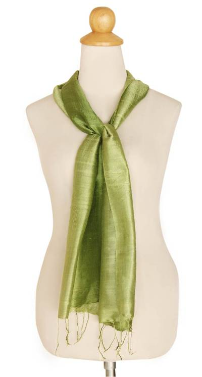 Silk scarf, 'Jade Duality' - Handwoven Silk Scarf in Green from Thailand