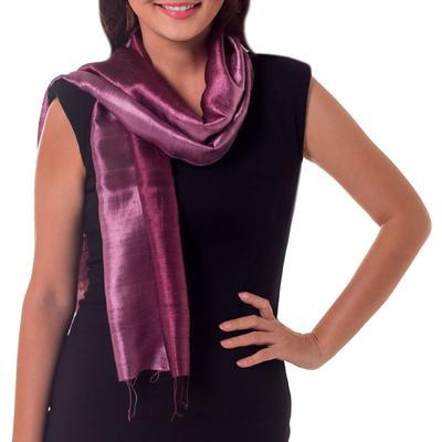 Silk batik scarf, 'Orchid Duality' - Handcrafted Batik Silk Scarf