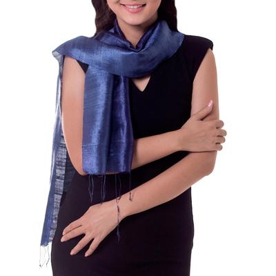 Silk batik scarf, 'Bluebell Duality' - Handcrafted Batik Silk Scarf
