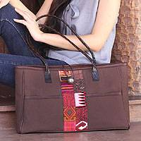 Cotton shoulder bag, 'Tribal Brown' - Cotton shoulder bag