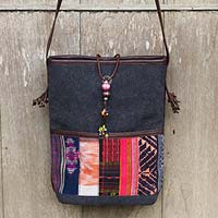 Leather accent cotton shoulder bag, 'Dokmai Black' - Leather accent cotton shoulder bag