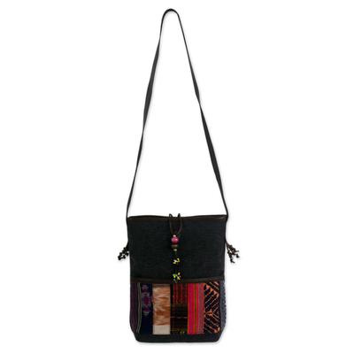Leather accent cotton shoulder bag, 'Dokmai Black' - Leather accent cotton shoulder bag