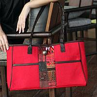 Cotton shoulder bag, 'Tribal Red' - Cotton shoulder bag
