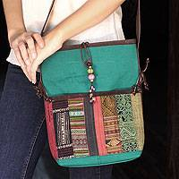 Leather accent cotton shoulder bag, 'Dokmai Teal'