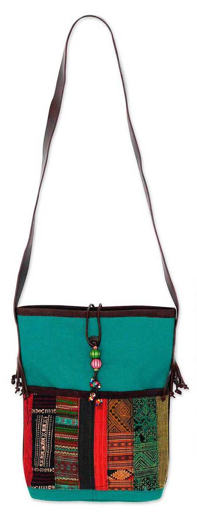 Leather accent cotton shoulder bag, 'Dokmai Teal' - Leather accent cotton shoulder bag