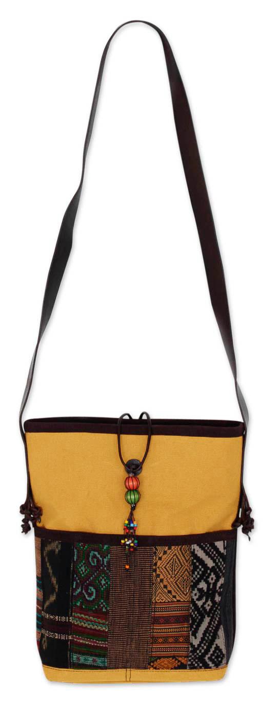 Novica Leather accent cotton shoulder bag, Dokmai Black