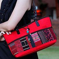 Leather accent cotton shoulder bag, 'Chiang Mai Ruby' - Leather accent cotton shoulder bag
