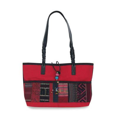 Novica Leather accent cotton shoulder bag, Chiang Mai Ruby