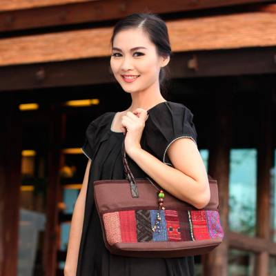 Leather accent cotton shoulder bag, 'Chiang Mai Coffee' - Leather Accent Cotton Shoulder Bag