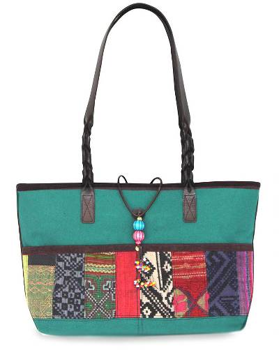 Novica Leather accent cotton shoulder bag, Chiang Mai Coffee