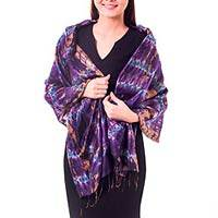 Silk shawl, 'Orchid Mystique' - Fair Trade Tie Dye Silk Shawl