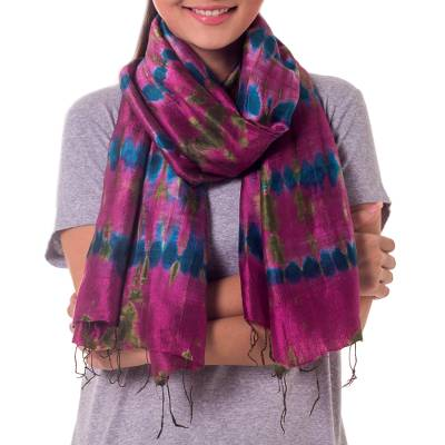 Silk scarf, 'Orchid Illusion' - Tie Dyed Handmade Magenta Silk Scarf from Thailand