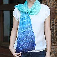 Tie-dyed scarf, 'Fabulous Sea' - Silk Scarf from Thailand