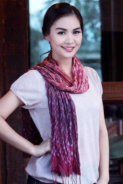 Tie-dyed scarf, 'Fabulous Wine' - Tie Dye Scarf