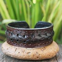 Men's leather cuff bracelet, 'Brown Braided Path'