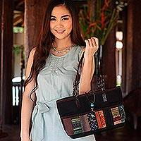 Leather accent cotton shoulder bag, 'Chiang Mai Ebony' - Hill Tribe Cotton Shoulder Bag