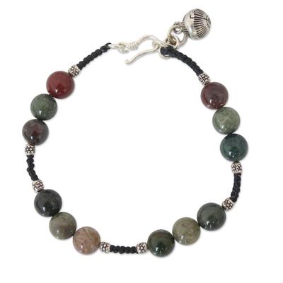 Multicolor Jasper and Fine Silver Braided Cord Beaded Bracelet