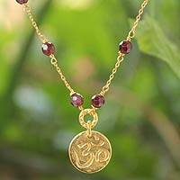 Gold vermeil garnet pendant necklace, 'Thai Om' - Gold Vermeil Garnet Pendant Necklace