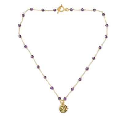 Gold vermeil amethyst pendant necklace, 'Thai Om' - Gold Vermeil and Amethyst Yoga Necklace