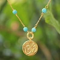 Gold vermeil pendant necklace, 'Thai Om' - Gold Vermeil and Calcite Pendant Necklace