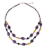 Amethyst beaded necklace, 'Harmony in Lilac' - Amethyst beaded necklace