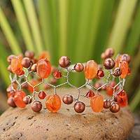 Cultured pearl and carnelian beaded bracelet, 'Orange Glam' - Hand Crafted Pearl and Carnelian Wristband Bracelet