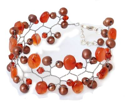 Hand Crafted Pearl and Carnelian Wristband Bracelet