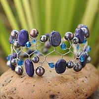 Cultured pearl and lapis lazuli beaded bracelet, 'Blue Glam'