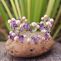 Cultured pearl and amethyst beaded bracelet, 'Lilac Glam'