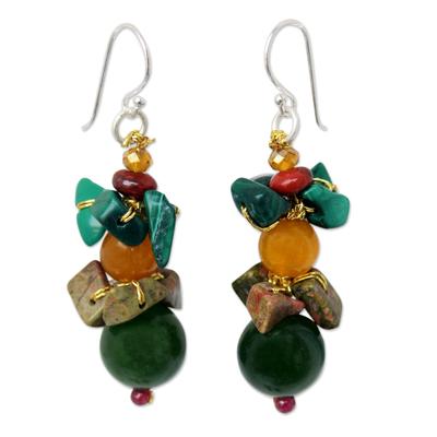 Malachite and unakite beaded earrings, 'Thai Harmony' - Malachite and Quartz Beaded Earrings