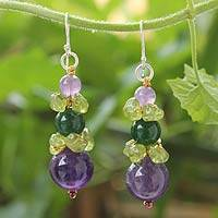 Amethyst and peridot beaded earrings, 'Thai Harmony' - Amethyst and Quartz Dangle Earrings