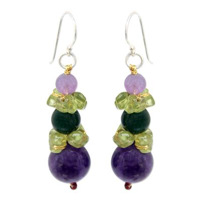 Amethyst and peridot beaded earrings, 'Thai Harmony' - Amethyst and Quartz Dangle Earrings