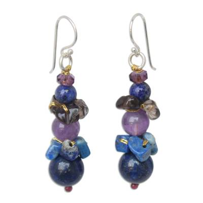 Lapis lazuli and amethyst beaded earrings, 'Thai Harmony' - Beaded Lapis Lazuli Earrings