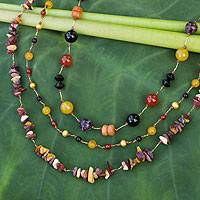 Onyx and carnelian beaded necklace, 'Sweet Autumn'