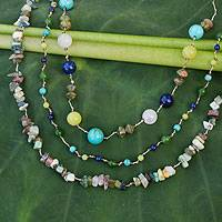 Sodalite and tiger's eye beaded necklace, 'Mystic Rainbow' - Sodalite and tiger's eye beaded necklace