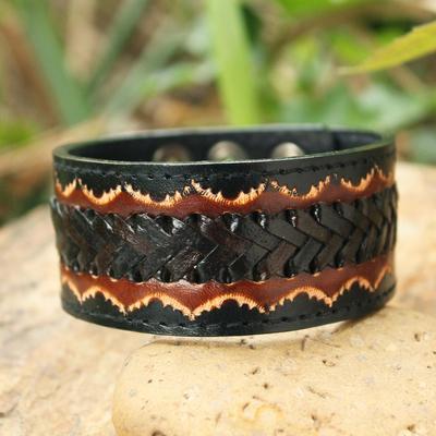 Men's leather wristband bracelet, 'Thai Flame' - Men's Handcrafted Leather Wristband Bracelet