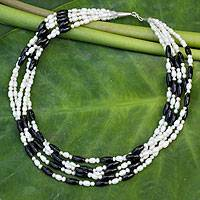 Cultured pearl strand necklace, 'Chiang Rai Melody' - Cultured pearl strand necklace