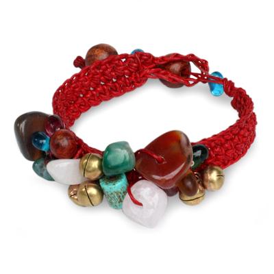 Beaded gemstone bracelet, 'Flamboyant Feast' - Brass Beaded Multigem Bracelet