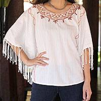 Cotton tunic, 'Exotic White Butterfly'