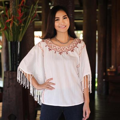 Cotton tunic, 'Exotic White Butterfly' - Women's Cotton Blouse