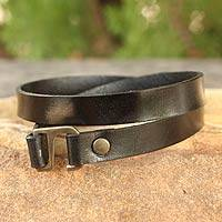 Men's leather wrap bracelet, 'Enigma in Black' - Men's Artisan Crafted Modern Leather Wrap Bracelet